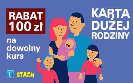 Karta Dużej Rodziny rabat 100 zł na dowolny kurs