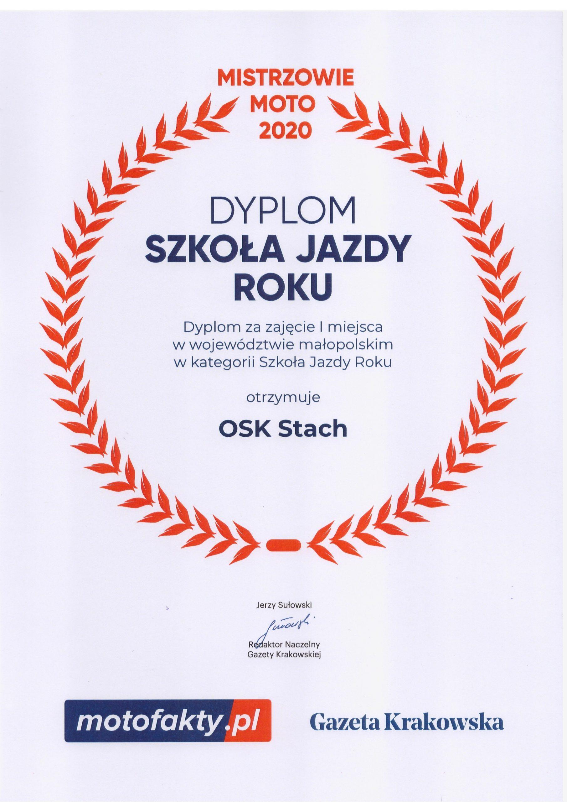 Dyplom Mistrzowie Moto 2020 - Szkoła jazdy roku